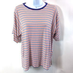 J. Crew Mixed Stripe T Shirt Red Blue White Sz S